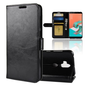 Crazy Horse Vertical Leather Mobile Case with Card Holder for Asus Zenfone 5 Lite ZC600KL - Black