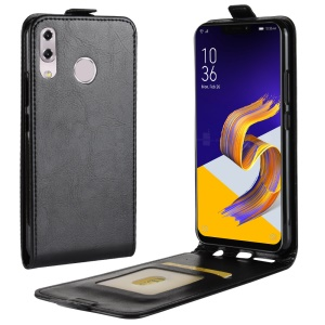 Crazy Horse Vertical Leather Card Holder Case for Asus Zenfone 5 ZE620KL - Black