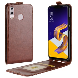 Crazy Horse Vertical Leather Case with Card Slot for Asus Zenfone 5 ZE620KL - Brown