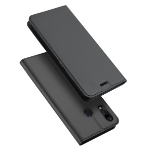 DUX DUCIS Skin Pro Series Card Holder Stand Leather Mobile Case for Asus Zenfone 5Z ZS620KL - Dark Grey