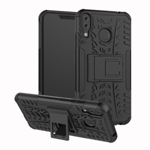 Anti-slip PC + Silicone Hybrid Case with Kickstand for Asus Zenfone 5Z ZS620KL / 5 ZE620KL - Black