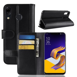 Genuine Split Leather Wallet Stand Phone Shell for Asus Zenfone 5 ZE620KL - Black