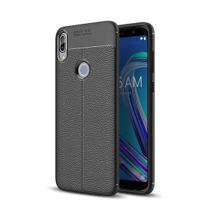 Litchi Texture Soft TPU Mobile Phone Case for Asus Zenfone Max Pro (M1) ZB601KL / ZB602KL - Black