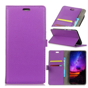 Litchi Grain Wallet Stand Leather Protective Shell for Asus Zenfone Max Pro (M1) ZB601KL / ZB602KL - Purple