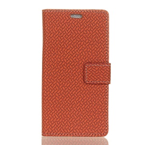 Woven Texture Wallet Stand Leather Protector Shell Case for Asus Zenfone Max Pro (M1) ZB601KL / ZB602KL - Brown