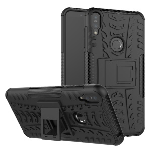 Tyre Pattern Kickstand PC + TPU Hybrid Case for Asus Zenfone Max Pro (M1) ZB601KL / ZB602KL - Black