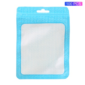 100Pcs/Lot Zip Lock Retail Packaging Bags for USB Data Cable, Size: 12 x 9cm - Blue