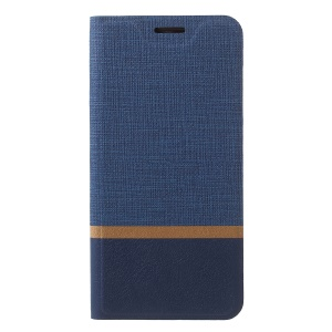 Cross Texture PU Leather Card Holder Stand Case for Asus ZenFone Lite (L1) ZA551KL / Live (L1) ZA550KL - Blue