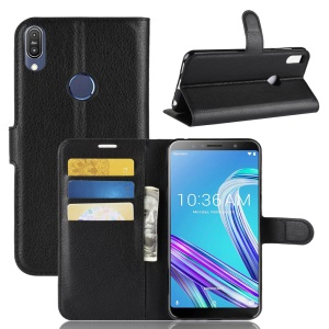 Litchi Skin Wallet Leather Stand Case for Asus Zenfone Max Pro (M1) ZB601KL - Black
