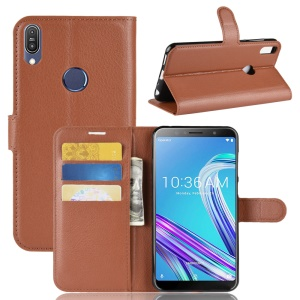 Litchi Skin Leather Stand Cover with Card Slots for Asus Zenfone Max Pro (M1) ZB601KL - Brown