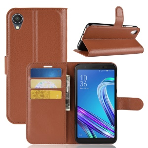 Litchi Skin Wallet Leather Stand Mobile Phone Case for Asus ZenFone Live (L1) ZA550KL / Lite (L1) ZA551K - Brown
