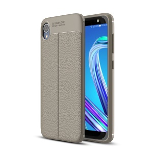Litchi Skin Soft TPU Protection Cover for Asus ZenFone Lite (L1) ZA551KL / Live (L1) ZA550KL - Grey