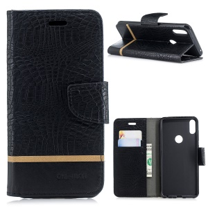 Crocodile Texture Splicing PU Leather Wallet Case for Asus Zenfone Max Pro (M1) ZB601KL - Black