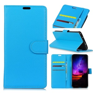 Litchi Texture Leather Wallet Shell for Asus Zenfone Max (M2) ZB633KL - Blue