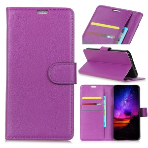 Litchi Texture Leather Cell Phone Case for Asus Zenfone Max (M2) ZB633KL - Purple