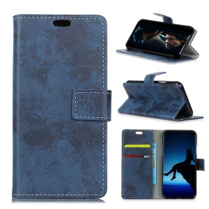 (Vintage Style) PU Leather Stand Wallet Cell Phone Cover for Asus Zenfone Max (M2) ZB633KL - Blue