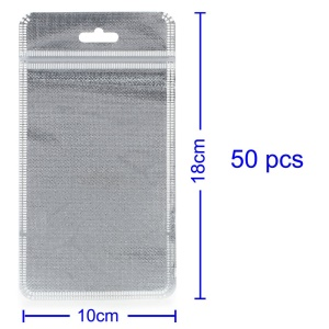50Pcs/Lot Cloth and PET Packaging Bag for iPhone Case, Inner Size: 14.5 x 9cm - Silver Color