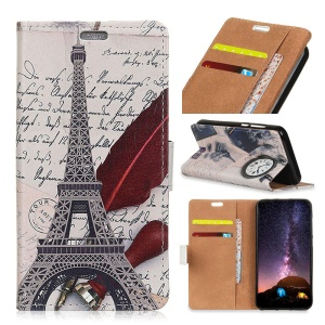 Pattern Printing Flip Stand Leather Case for Asus Zenfone Max (M2) ZB633KL - Eiffel Tower and Quill-pen