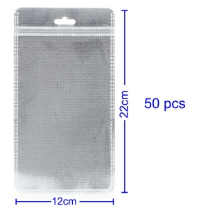 50Pcs/Lot Cloth and PET Packaging Bag for iPhone Case, Size: 18 x 11cm - Silver Color