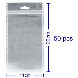 50Pcs/Lot Cloth and PET Packaging Bag for iPhone Case, Inner Size: 16 x 10cm - Silver Color