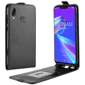 Vertical Flip Crazy Horse Leather Case with Card Slot for Asus Zenfone Max (M2) ZB633KL - Black