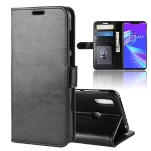 Crazy Horse Wallet Leather Stand Cell Phone Case with Magnet for Asus Zenfone Max (M2) ZB633KL - Black
