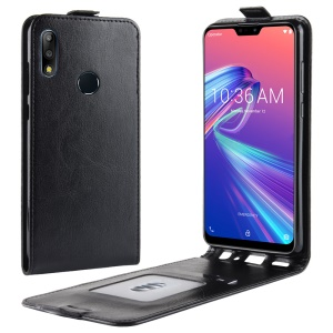 Crazy Horse Texture Vertical Flip Card Holder Leather Case for Asus Zenfone Max Pro (M2) ZB631KL - Black