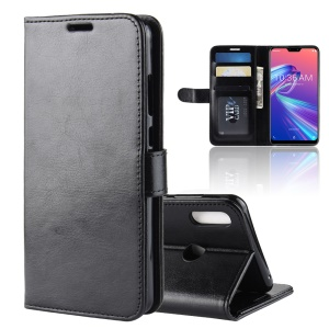 Crazy Horse Wallet Leather Stand Cell Phone Case with Magnet for Asus Zenfone Max Pro (M2) ZB631KL - Black