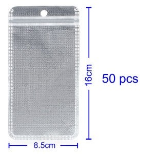 50Pcs/Lot Cloth and PET Packaging Bag for iPhone Case, Inner Size: 13 x 7.5cm - Silver
