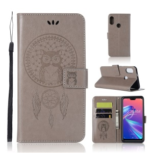 Imprint Owl Dream Catcher Wallet Stand Leather Case for Asus Zenfone Max Pro (M2) ZB631KL - Grey