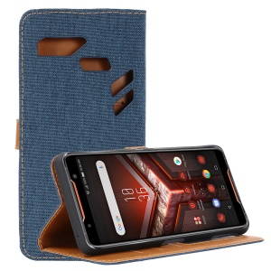 Oxford Cloth PU Leather Case with Wallet Stand for Asus ROG Phone (ZS600KL) - Dark Blue
