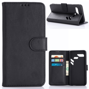 Retro Style Crazy Horse PU Leather Magnetic Wallet Case for Asus ROG Phone (ZS600KL) - Black