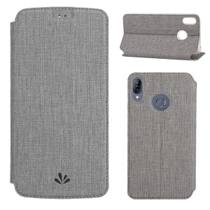 VILI DMX Cross Texture Card Holder Leather Stand Cover for Asus Zenfone Max (M2) ZB633KL - Grey