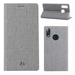 VILI DMX Cross Texture Leather Stand Case for Asus Zenfone Max Pro (M2) ZB631KL - Grey