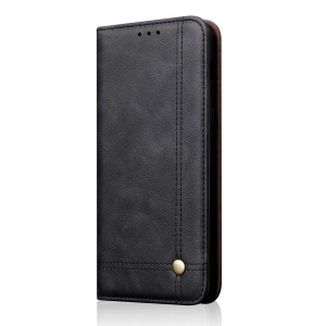Auto-absorbed Crazy Horse Vintage Leather Stand Case for Asus Zenfone Max Shot ZB634KL - Black