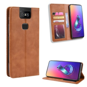 Vintage Style PU Leather Wallet Phone Cover for Asus Zenfone 6 ZS630KL/Zenfone 6z/Zenfone 6 2019 - Brown