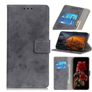 Vintage Style Leather Wallet Case for Asus Zenfone 6 ZS630KL - Grey