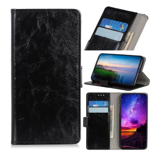 Crazy Horse Auto-absorbed Split Leather Wallet Shell for Asus Zenfone Max Plus (M2) ZB634KL - Black