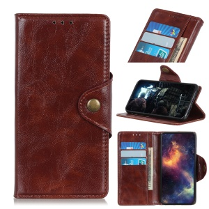 Textured PU Leather Wallet Stand Phone Case for Asus Zenfone 6 ZS630KL - Brown