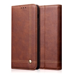 Auto-absorbed Crazy Horse Vintage Leather Stand Shell for Asus ZenFone Live (L1) ZA550KL / ZenFone Live (L2) - Coffee