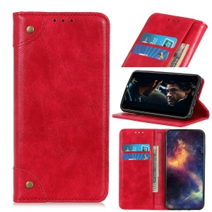 Auto-absorbed Split Leather+TPU Phone Case with Wallet Slot for Asus Zenfone 6 ZS630KL - Red