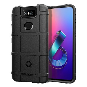 Grid Texture Rugged Shield Square TPU Case Accessory for Asus Zenfone 6 ZS630KL - Black