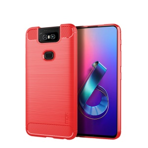 MOFI Carbon Fiber Texture Brushed TPU Phone Case for Asus Zenfone 6 ZS630KL - Red