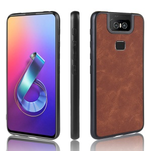 PU Leather Coated TPU Back Protective Phone Casing for Asus Zenfone 6 ZS630KL - Brown