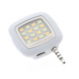 3.5mm Mini Portable 16-LED Selfie Flash and Fill Light for iPhone iPad Samsung Sony - White