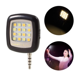 3.5mm Mini 16-LED Selfie Enhancing Flash Light for iPhone iPad Samsung Sony - Black