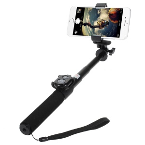 Black ASHUTB KIT-S3 Bluetooth Selfie Stick with Remote Shutter for iPhone Samsung Sony etc