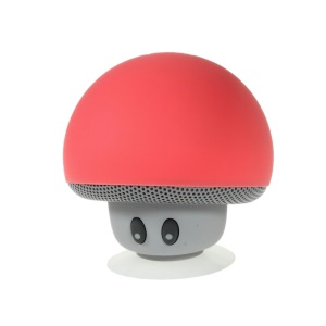 Mushroom Shape Bluetooth Speaker with Suction Holder Support Mic - Red
