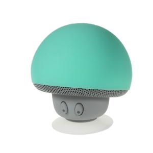 Mushroom Shape Bluetooth Speaker with Suction Holder Support Mic - Cyan