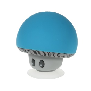 Mushroom Shape Bluetooth Speaker with Suction Holder Support Mic - Blue